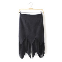 Plain Fringed Asymmetrical Faux Suede Leather Skirt