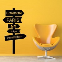 Wall Decal Decor Decals Art London Paris Ny Tokyo Amsterdam pointer post Index road sign direction Custom Word Quote Bedroom Dorm (M472)