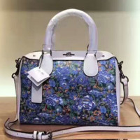 COACH Women Flower Print Shopping Bag Leather Crossbody Satchel Shoulder Bag Handbag G-LLBPFSH