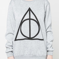Deathly Hallows Jumper Harry Potter Symbol Movie Shirt Sweater Long Sleeve Sweatshirts Women Black Grey T-Shirt Unisex Size S M L