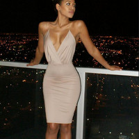 Super sexy Backless Package hip bandage dress low-cut deep v-neck Tight Harness nightclub party dress Summer Bodycon vestidos