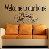 Wall Decals Welcome to our home Quote Vinyl Decal Sticker Home Decor Cold Living Room Bedroom Art Murals MN57