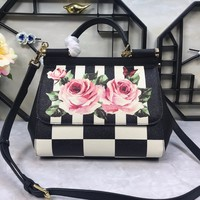 Dolce & Gabbana Womens Floral Printed Small Sicily Bag
