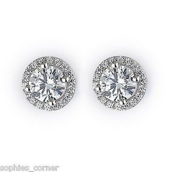 2 ct. Simulated Diamond Halo Stud Earrings ~ White Gold over Sterling Silver