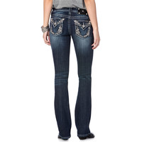 Miss Me Women's Floral Embellished Boot Cut Jeans