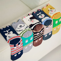 2015 New Winter Funny Women 3D Dog Socks Kawaii Golden Retriever Schnauzer Husky Bulldog Long Sock Novelty Cotton Cartoon Socks