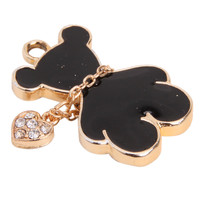 10pcs/lot Black Enamel Bear Charms Alloy Golden Plated Animal Pendants Jewelry Findings Fit  Necklace Making 28*18*3mm 148164