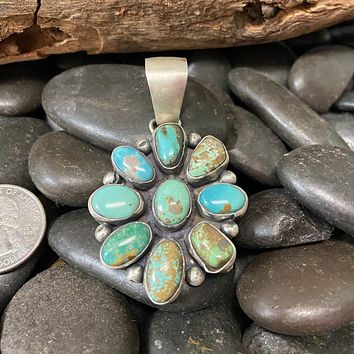 Cluster Amazing Turquoise Genuine Pendant for Necklace