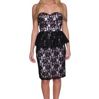 Beautifly Women's Sweetheart Black Lace Peplum Evening Dress