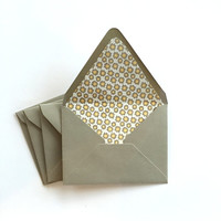 A2 Envelopes -Set of 4 -  Paper lined  euro contour flap envelopes, Grey, Gray, Mustard Yellow, Floral, Flowers, Stationary, modern,