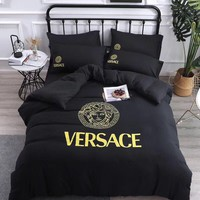 Black VERSACE Blanket Quilt coverlet Pillow shams 4 PC Bedding Set