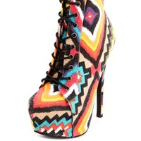 LACE-UP TRIBAL CANVAS HEEL BOOTIE