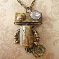 Robot Necklace Geeky Roboto with Wheel by Beadix on Etsy