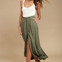My Squad Olive Green Maxi Skirt