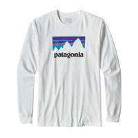 Patagonia M's Long Sleeve Shop Sticker Cotton T-Shirt - White