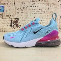 Nike Air Max 270 Women Light Blue Red Sport Running Shoes - Best Online Sale
