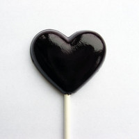 Black heart lollipops cherry flavor - 6 pc. - MADE TO ORDER