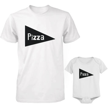 Pizza Daddy and Baby Matching Shirts and Onesuits Father Tees and Infant Bodysuits