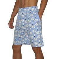 NCAA Mens North Carolina Tar Heels Pajama Shorts Small Light Blue & White