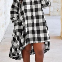 White and Black High-Low Long Sleeve Plaid Dress