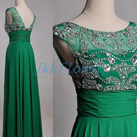 Long Green Beaded Prom Dresses,Tulle backless Prom Dresses,Long Evening Dresses,Bridesmaid Dresses,Homecoming Dresses