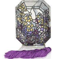 Judith Leiber Couture Addison Floral Crystal Octagon Clutch Bag
