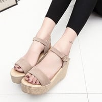 2017 new summer women wedges sandals Thick Soled Shoes Solid 4 colors open toe Women Ladies Sandals HSD06