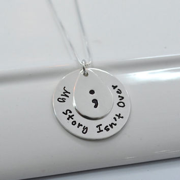 Project Semicolon Hand Stamped Inspirational Necklace