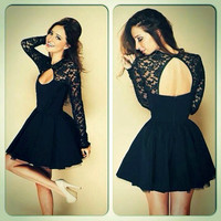 Women Girl Fashion Lace Dress Hollow out Backless Long Sleeves Dress Celebrity Style Sexy Night out Clubwear Dresses Party Dresses