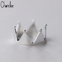 Cool Chandler 925 Silver Imperial Crown Rings For Women Simple My Princess Queen Open Rings Finger Knuckle Toe Bague Engagement BandAT_93_12