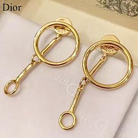 Dior New fashion round circle long earring Golden
