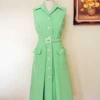 Vintage 1960s Green and White Striped Dress by R & K Knits