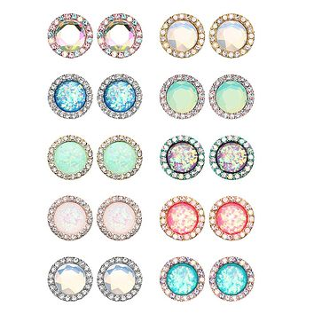 Silver, Golden, Rose Gold, Teal Round Crown Faceted Jeweled Combo Ear Stud Earrings