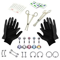 35PC Professional Piercing Kit Stainless Steel 14G Double CZ Belly Navel Ring Set