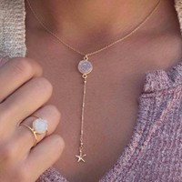 White Druzy Y Necklace
