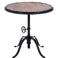 """Metal Wood Round Table 30""""""""H, 30""""""""W Accent Collection"""