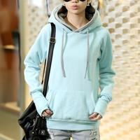 wish Casual Long Sleeve Hooded Pullover Cotton Plain Womens Hoodies = 1932694660