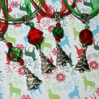 Choice of Handmade Christmas Tree Pendant on Organza Ribbon Necklace with Red an Green Bead Accents