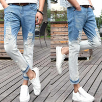 White and Blue Denim Cropped Pants