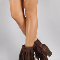 Women's Soda Burnished Double Layered Fringe Bootie
