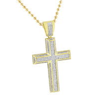 Mens Cross Pendant 14K Gold Finish Stainless Steel Moon Chain Lab Create Diamond