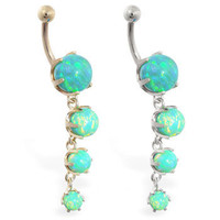 14K Solid Gold belly ring with Quadruple Green Opal Dangle, Yellow or White gold. Free Shipping