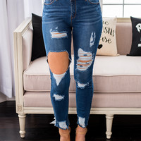Got It Good Distressed Ankle Skinny Jeans (Medium Wash)