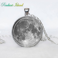 MOON JEWELRY Moon Pendant  Space  Galaxy Grey Moon  Jewelry Necklace for men  Art Gifts for Her(P11H02V02)