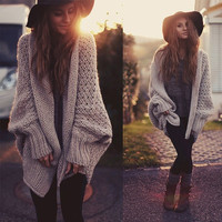 ♡ batwing knitted long cardigan sweater oversize knitwear Brown ♡