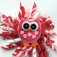Valentines Owl Headband - Valentines Day Head Band for Girls - Red Owl Hair Bow - Korker Hair Bow for Toddler -Valentine Headband Photo Prop