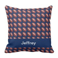 """Footballs, 16"""" Square Pillow, Blue Personalized Throw Pillow"""