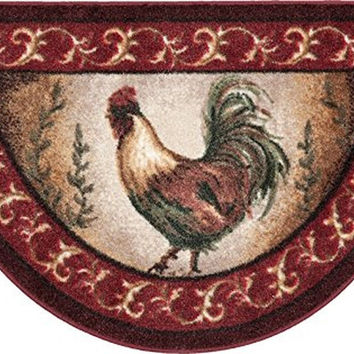 Brumlow Mills Prancing Rooster Kitchen Rug 19-Inch by 31-Inch Brick