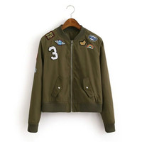 Olive Zipper Front Badge Embroidery Jacket