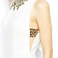 Forever Unique Open Back Pencil Dress with Embellished Necklace